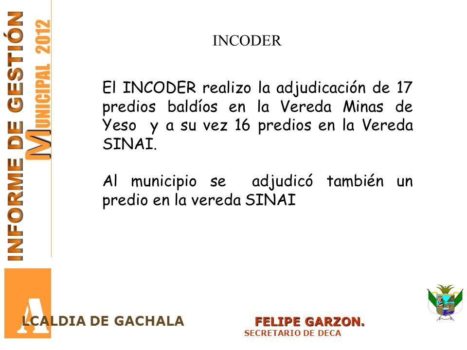 A MUNICIPAL 2012 INFORME DE GESTIÓN INCODER