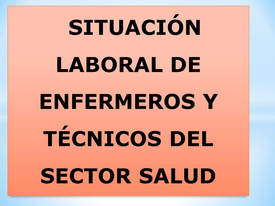 SITUACIÓN LABORAL DE ENFERMEROS Y TÉCNICOS DEL SECTOR SALUD