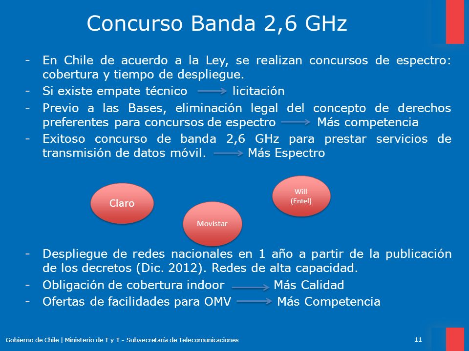 Concurso Banda 2,6 GHz En Chile de acuerdo a la Ley, se realizan concursos de espectro: cobertura y tiempo de despliegue.