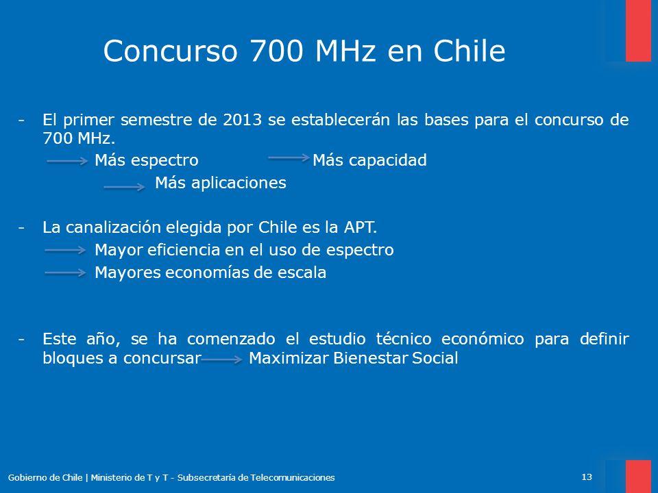 Concurso 700 MHz en Chile El primer semestre de 2013 se establecerán las bases para el concurso de 700 MHz.