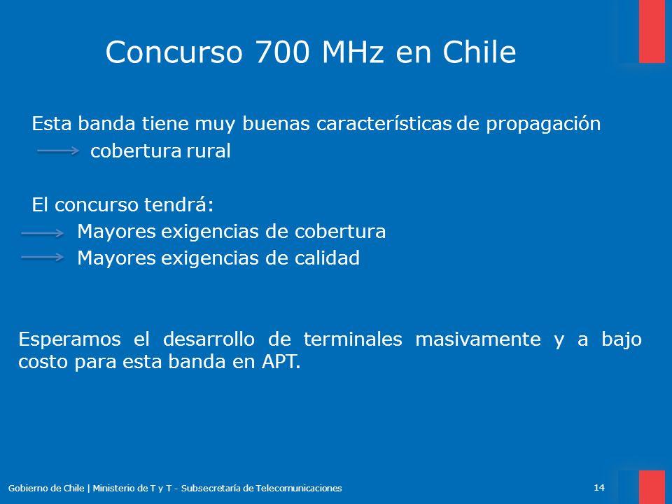 Concurso 700 MHz en Chile Esta banda tiene muy buenas características de propagación. cobertura rural.