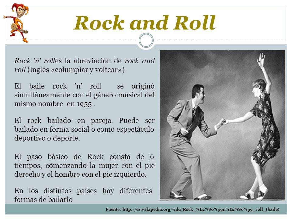 Rock and Roll Rock 'n' rolles la abreviación de rock and roll (inglés «columpiar y voltear»)