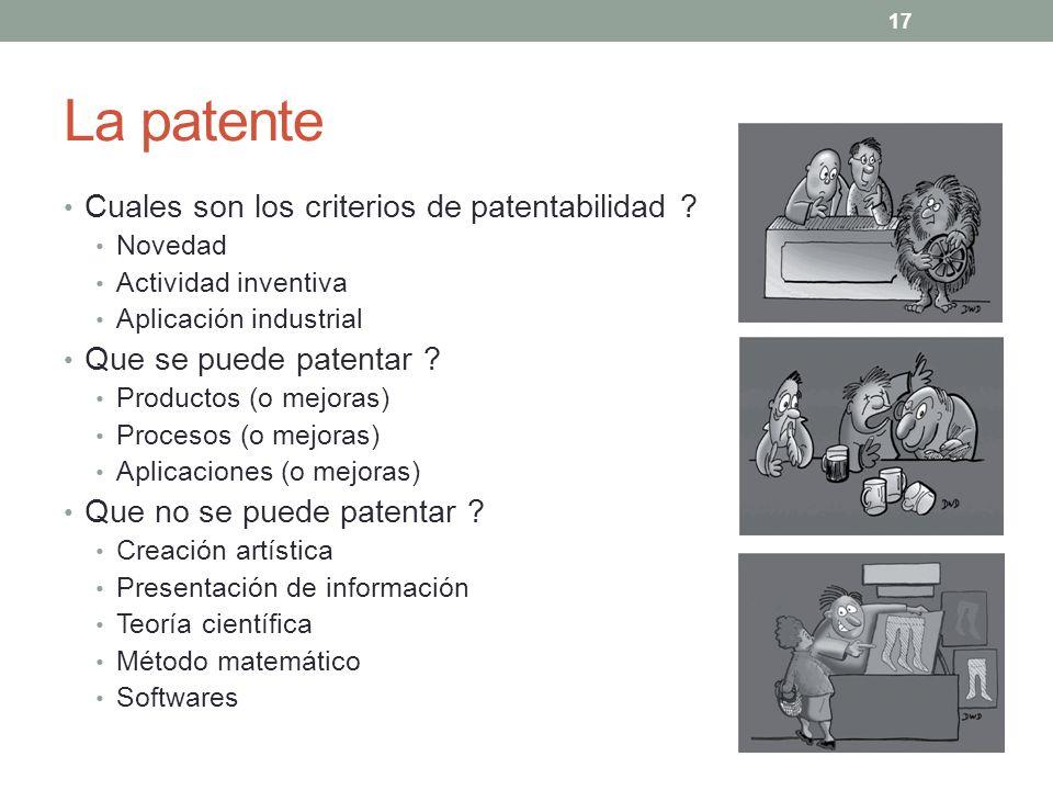 La patente Cuales son los criterios de patentabilidad