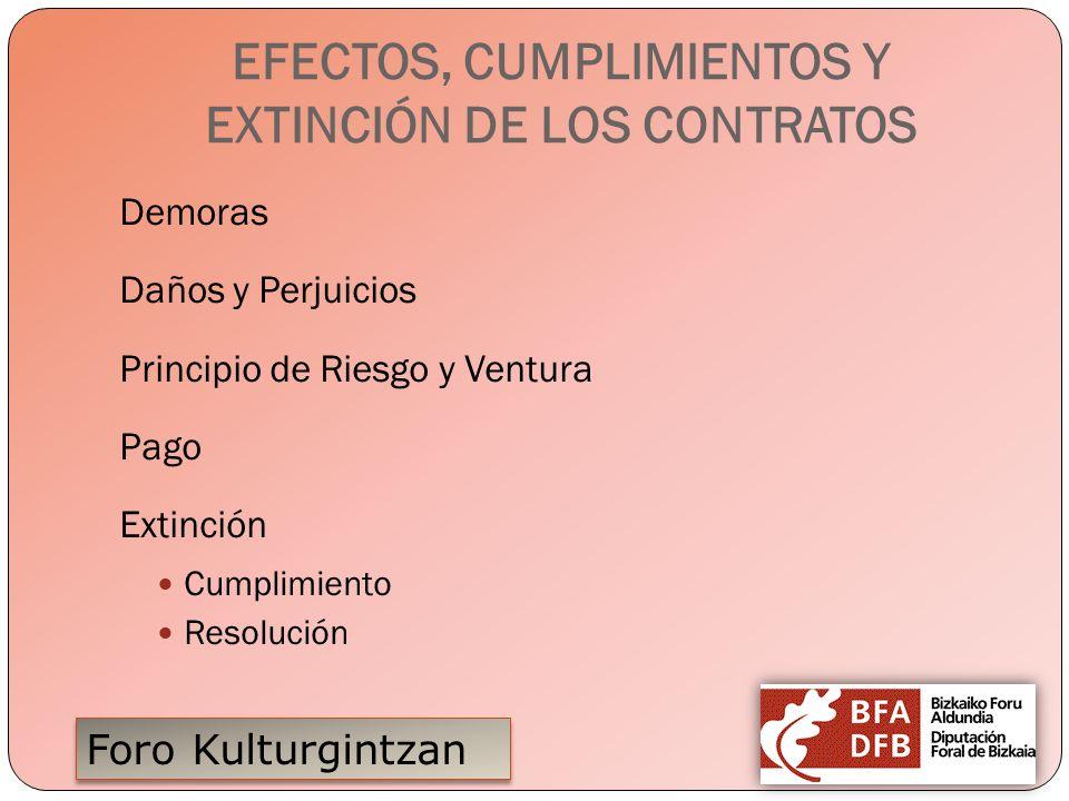 EFECTOS, CUMPLIMIENTOS Y EXTINCIÓN DE LOS CONTRATOS