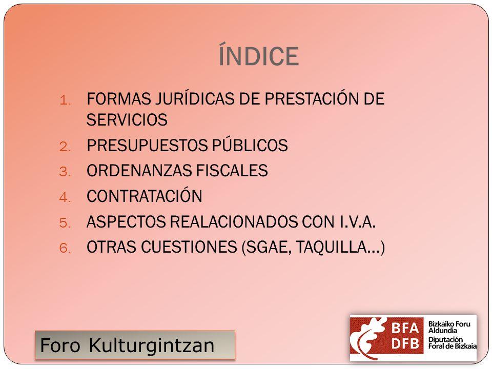 ÍNDICE FORMAS JURÍDICAS DE PRESTACIÓN DE SERVICIOS