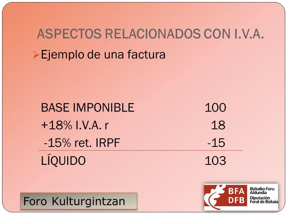ASPECTOS RELACIONADOS CON I.V.A.