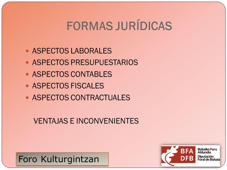 FORMAS JURÍDICAS ASPECTOS LABORALES ASPECTOS PRESUPUESTARIOS