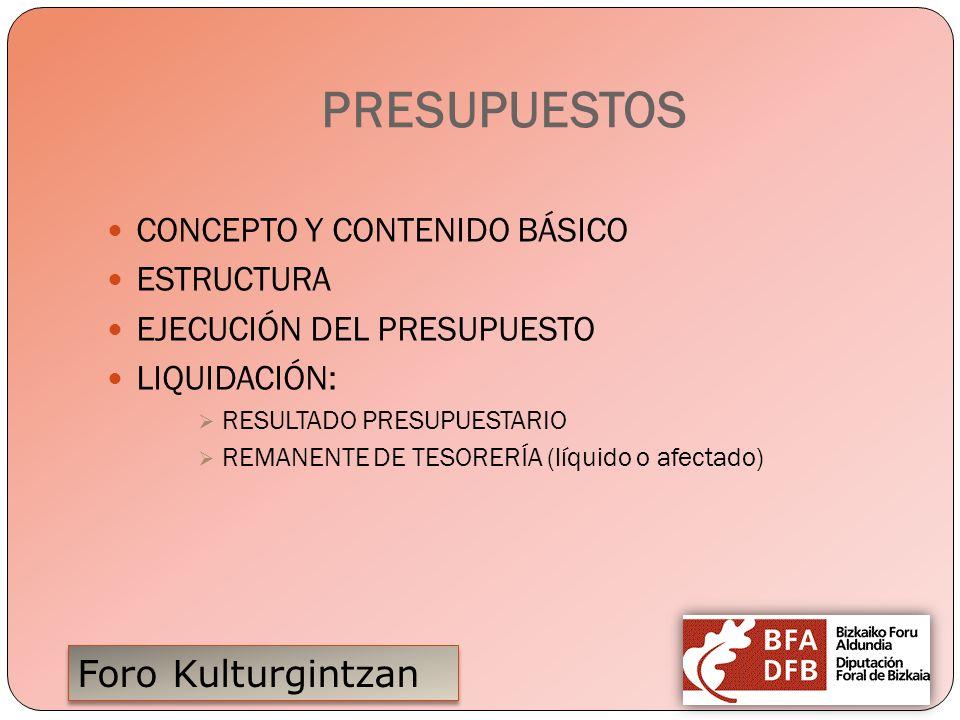 PRESUPUESTOS CONCEPTO Y CONTENIDO BÁSICO ESTRUCTURA
