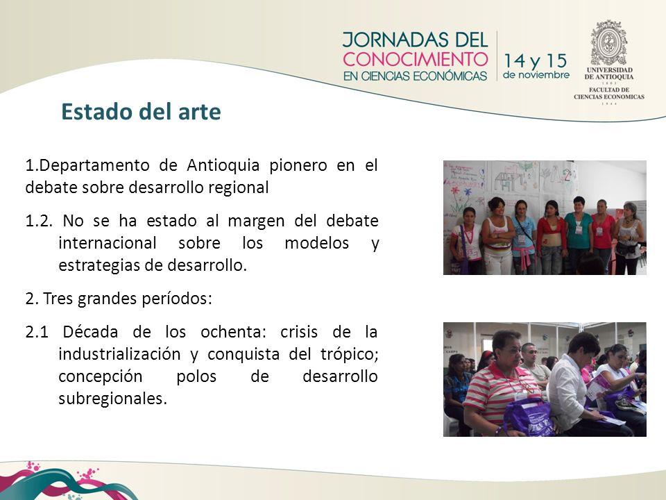 Estado del arte 1.Departamento de Antioquia pionero en el debate sobre desarrollo regional.