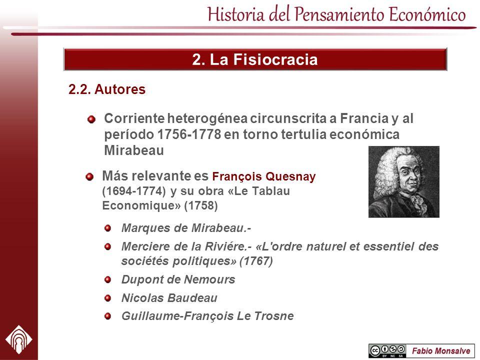2. La Fisiocracia 2.2. Autores