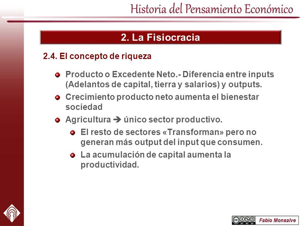 2. La Fisiocracia 2.4. El concepto de riqueza