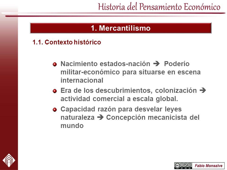 1. Mercantilismo 1.1. Contexto histórico. Nacimiento estados-nación  Poderío militar-económico para situarse en escena internacional.