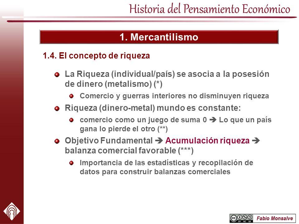 1. Mercantilismo 1.4. El concepto de riqueza