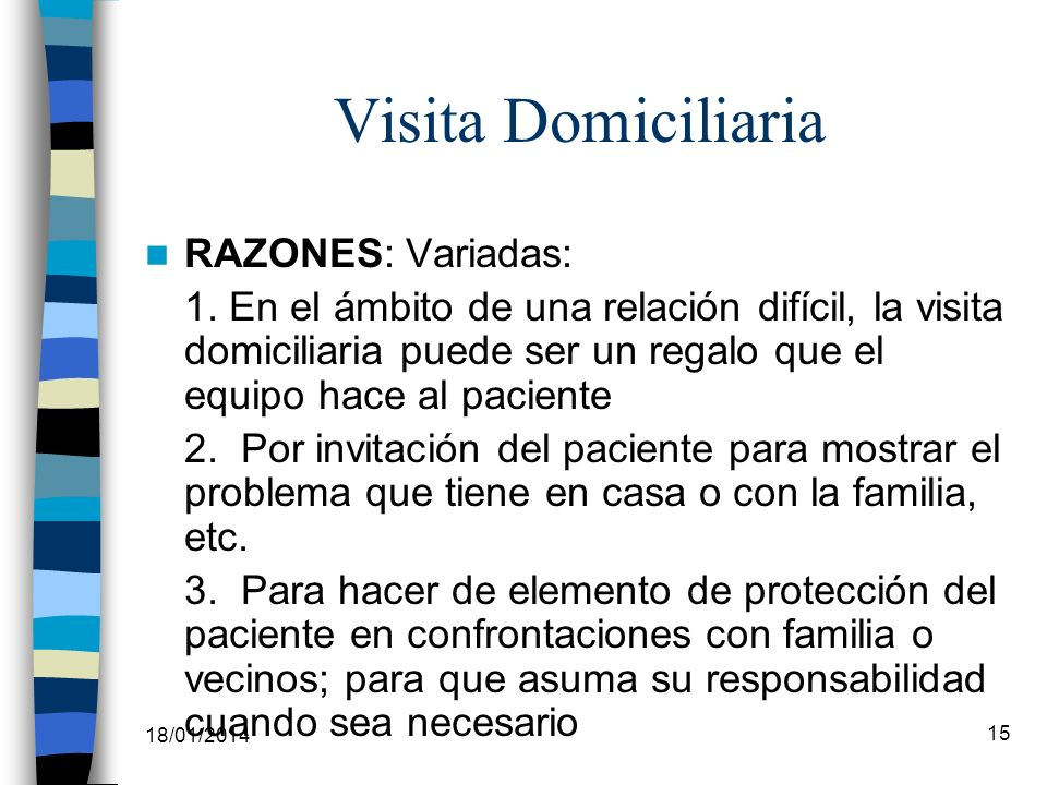 Visita Domiciliaria RAZONES: Variadas: