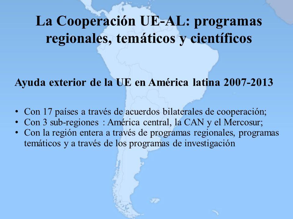 La Cooperación UE-AL: programas regionales, temáticos y científicos