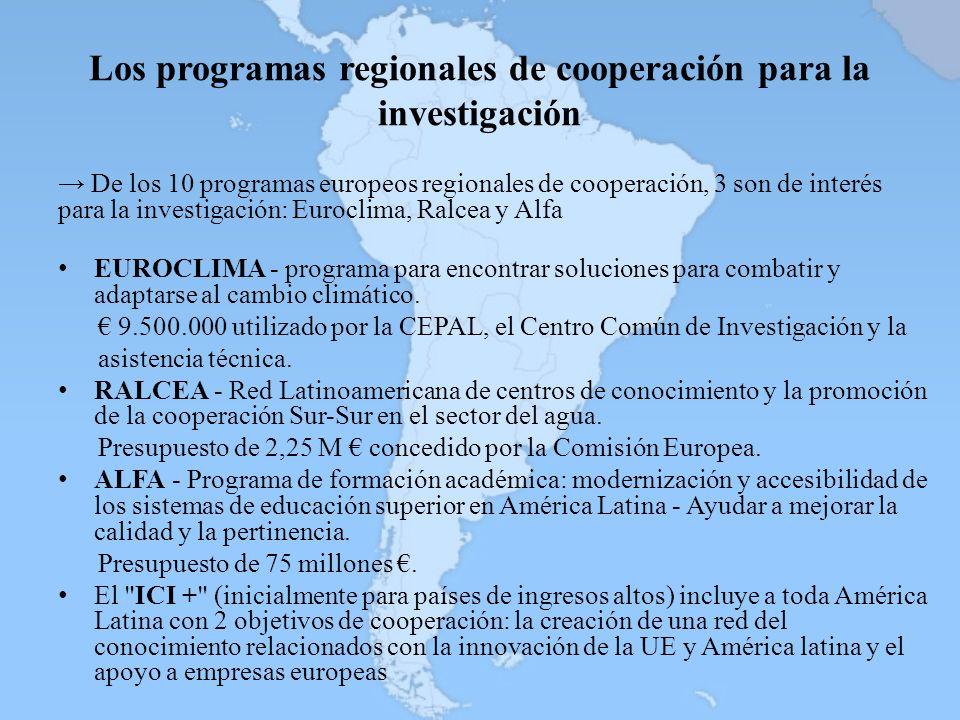 Los programas regionales de cooperación para la investigación