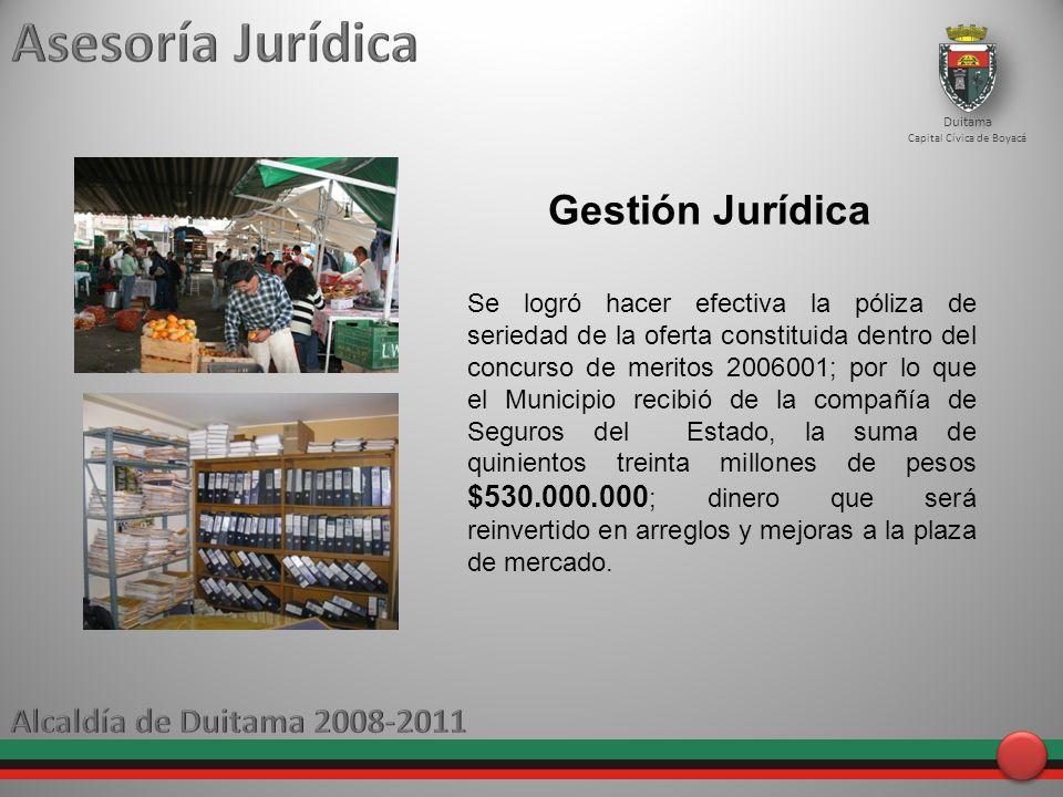Asesoría Jurídica Gestión Jurídica Alcaldía de Duitama 2008-2011