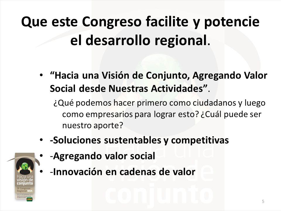 Que este Congreso facilite y potencie el desarrollo regional.