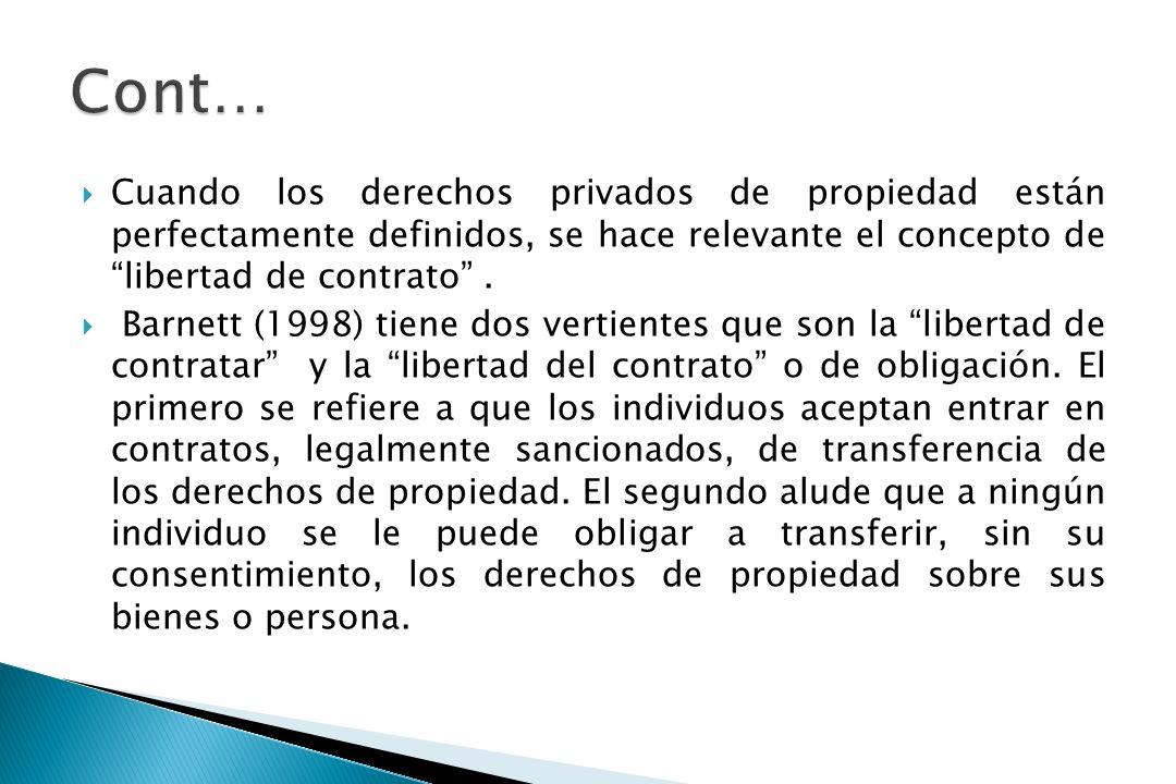 Cont… Cuando los derechos privados de propiedad están perfectamente definidos, se hace relevante el concepto de libertad de contrato .