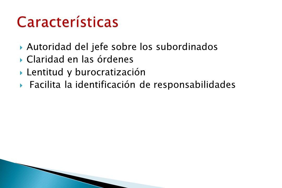 Características Autoridad del jefe sobre los subordinados