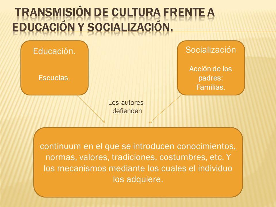 Transmisión de cultura frente a educación y socialización.
