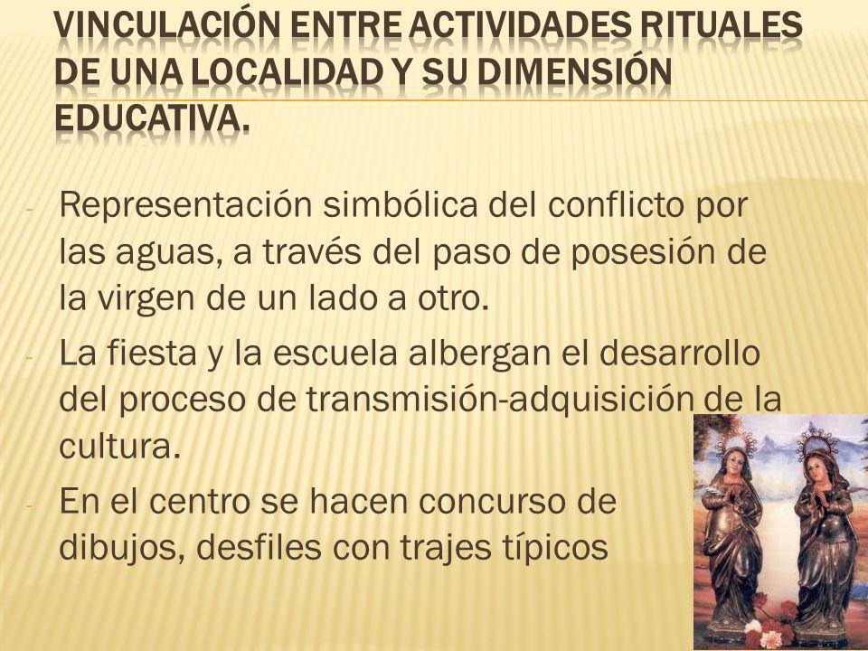 Vinculación entre actividades rituales de una localidad y su dimensión educativa.