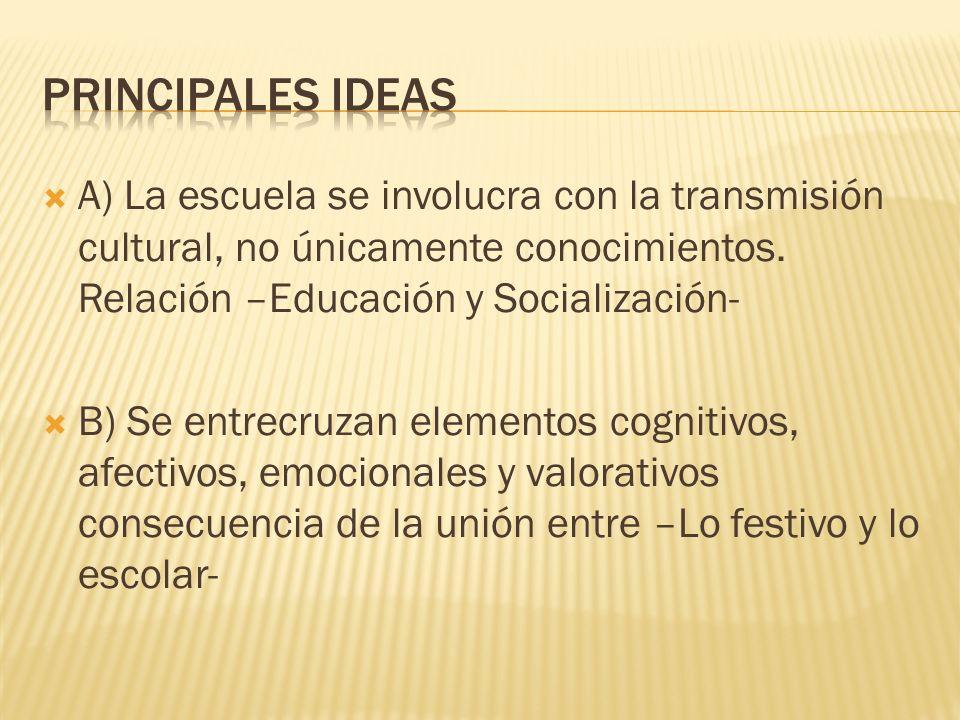 PRINCIPALES IDEASA) La escuela se involucra con la transmisión cultural, no únicamente conocimientos. Relación –Educación y Socialización-