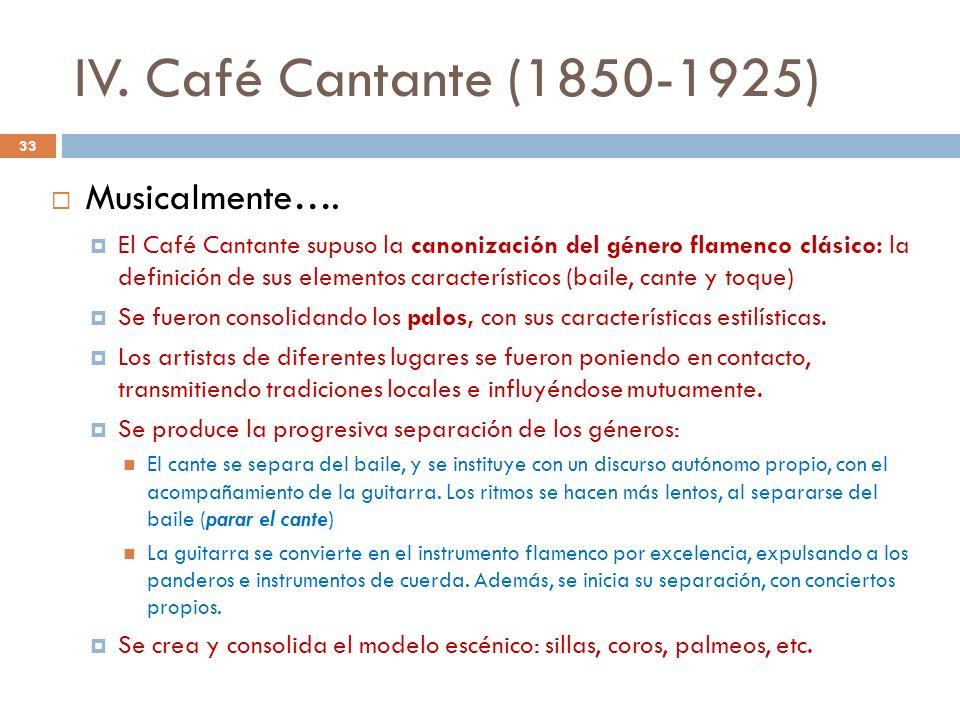 IV. Café Cantante (1850-1925) Musicalmente….