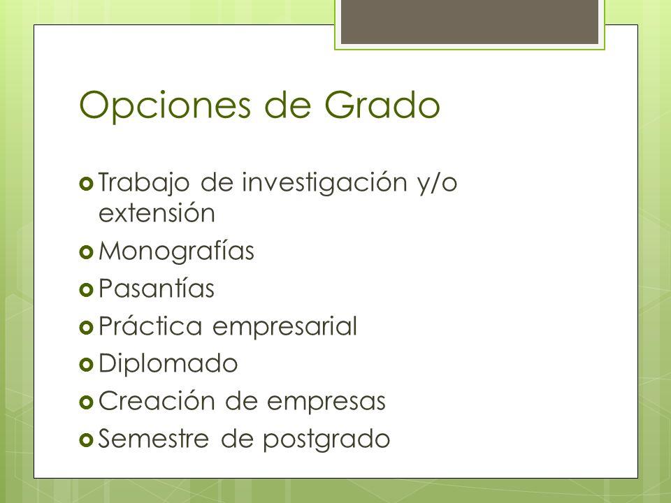 Opciones de Grado Trabajo de investigación y/o extensión Monografías