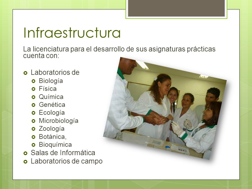 Infraestructura La licenciatura para el desarrollo de sus asignaturas prácticas cuenta con: Laboratorios de.