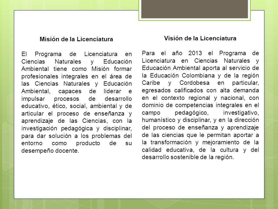 Misión de la Licenciatura Visión de la Licenciatura