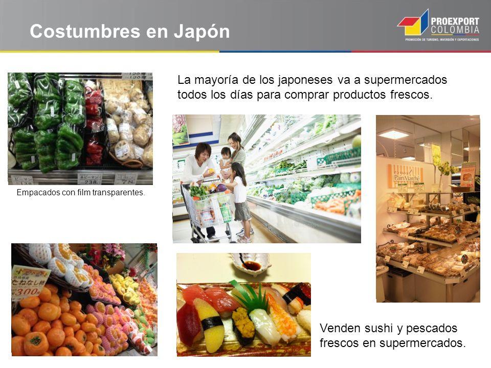 Costumbres en Japón La mayoría de los japoneses va a supermercados todos los días para comprar productos frescos.