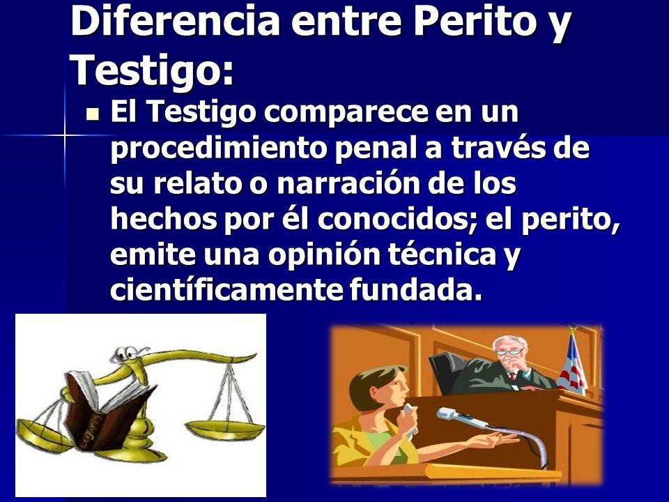 Diferencia entre Perito y Testigo: