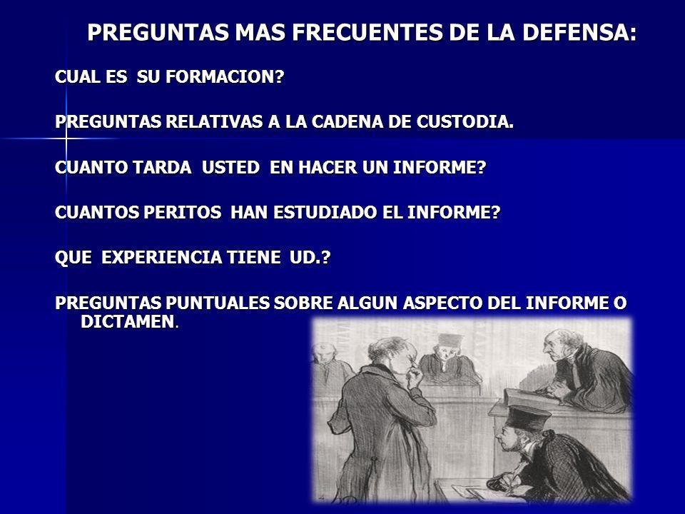 PREGUNTAS MAS FRECUENTES DE LA DEFENSA:
