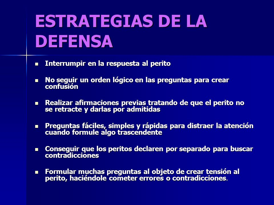 ESTRATEGIAS DE LA DEFENSA