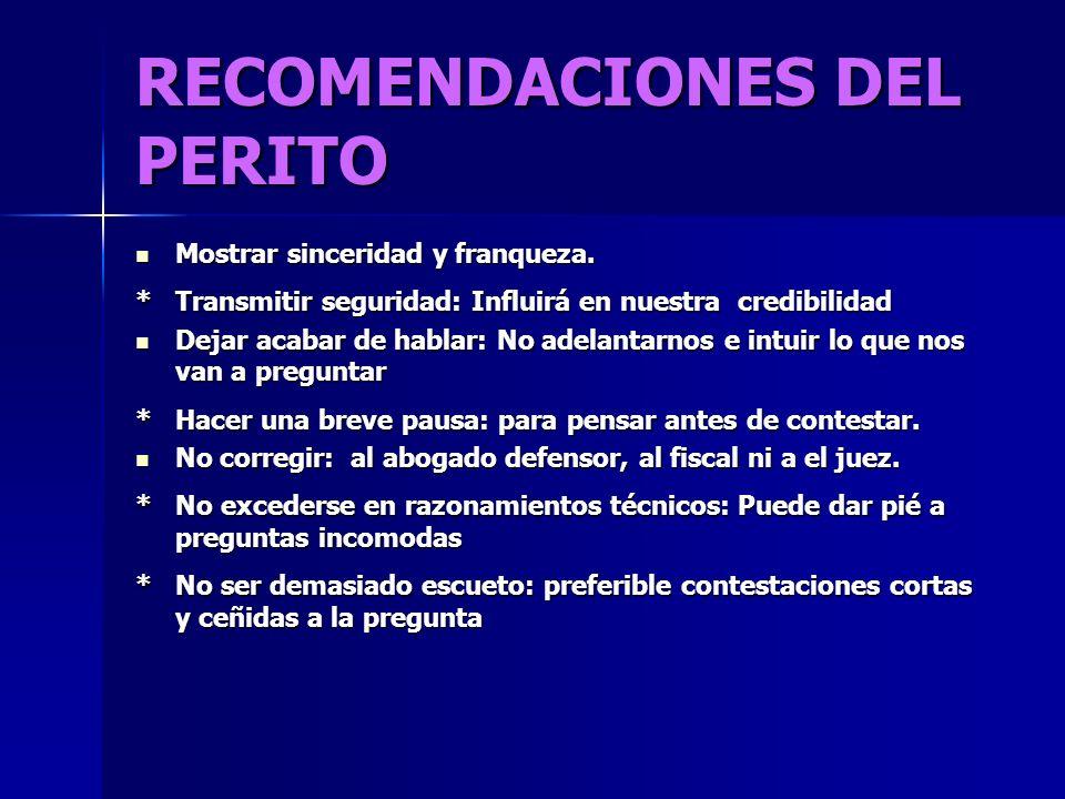 RECOMENDACIONES DEL PERITO