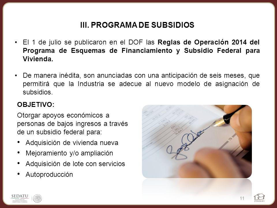 III. PROGRAMA DE SUBSIDIOS