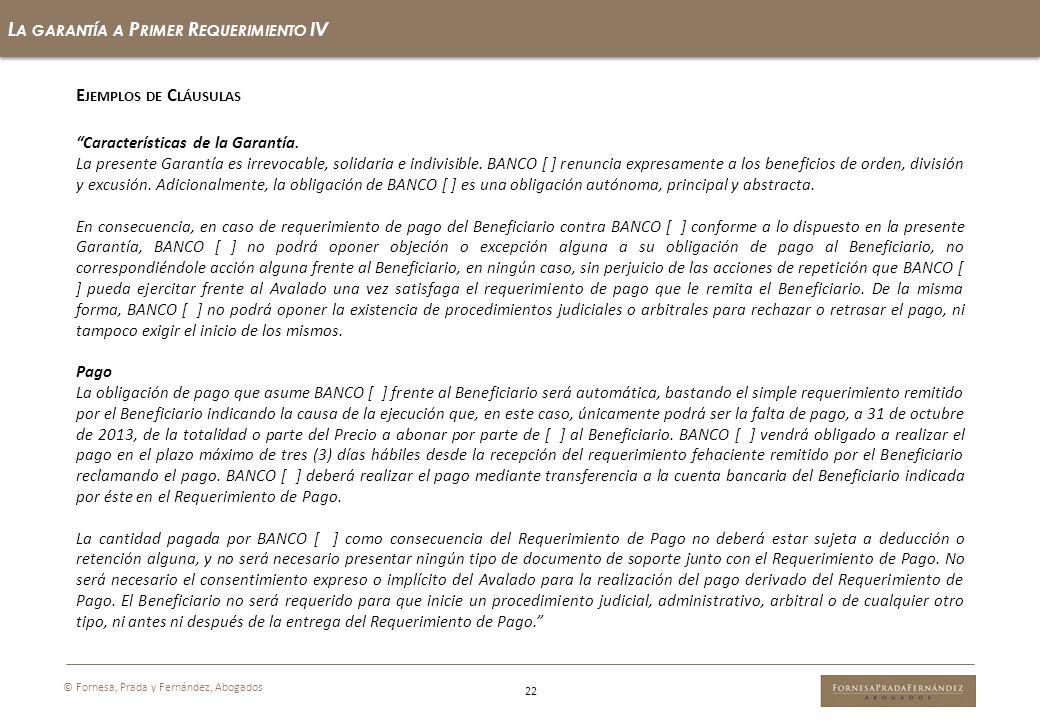 La garantía a Primer Requerimiento IV