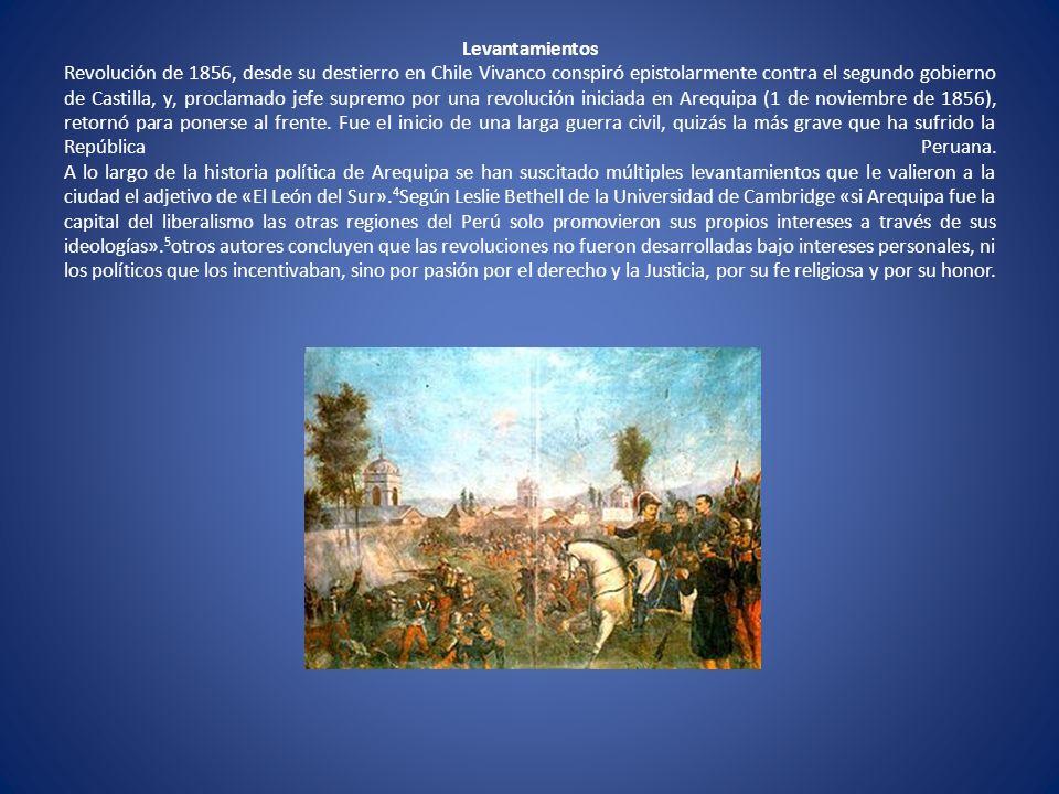 Levantamientos Revolución de 1856, desde su destierro en Chile Vivanco conspiró epistolarmente contra el segundo gobierno de Castilla, y, proclamado jefe supremo por una revolución iniciada en Arequipa (1 de noviembre de 1856), retornó para ponerse al frente.
