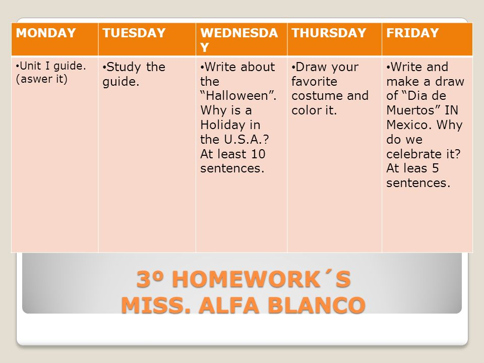 3º HOMEWORK´S MISS. ALFA BLANCO