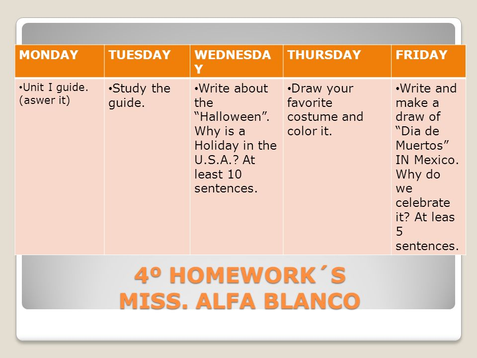 4º HOMEWORK´S MISS. ALFA BLANCO