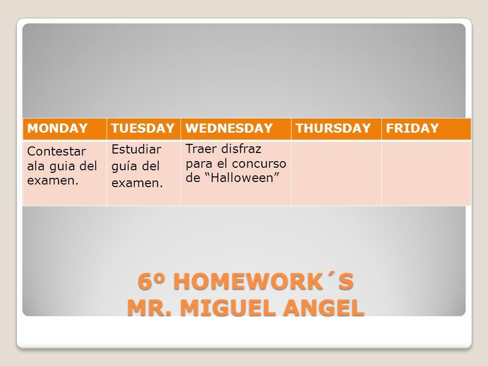 6º HOMEWORK´S MR. MIGUEL ANGEL