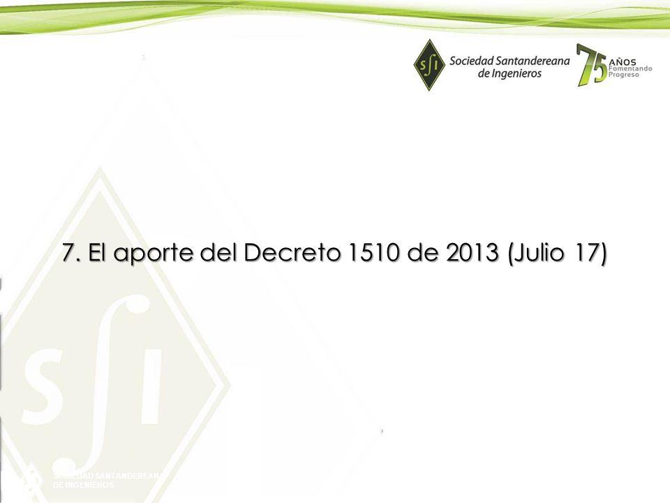 7. El aporte del Decreto 1510 de 2013 (Julio 17)