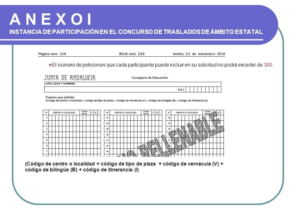 A N E X O I INSTANCIA DE PARTICIPACIÓN EN EL CONCURSO DE TRASLADOS DE ÁMBITO ESTATAL