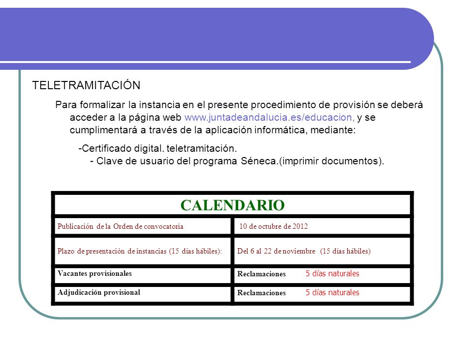 CALENDARIO TELETRAMITACIÓN