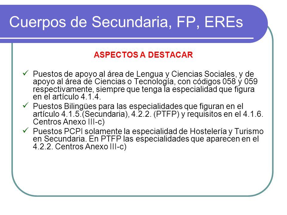 Cuerpos de Secundaria, FP, EREs