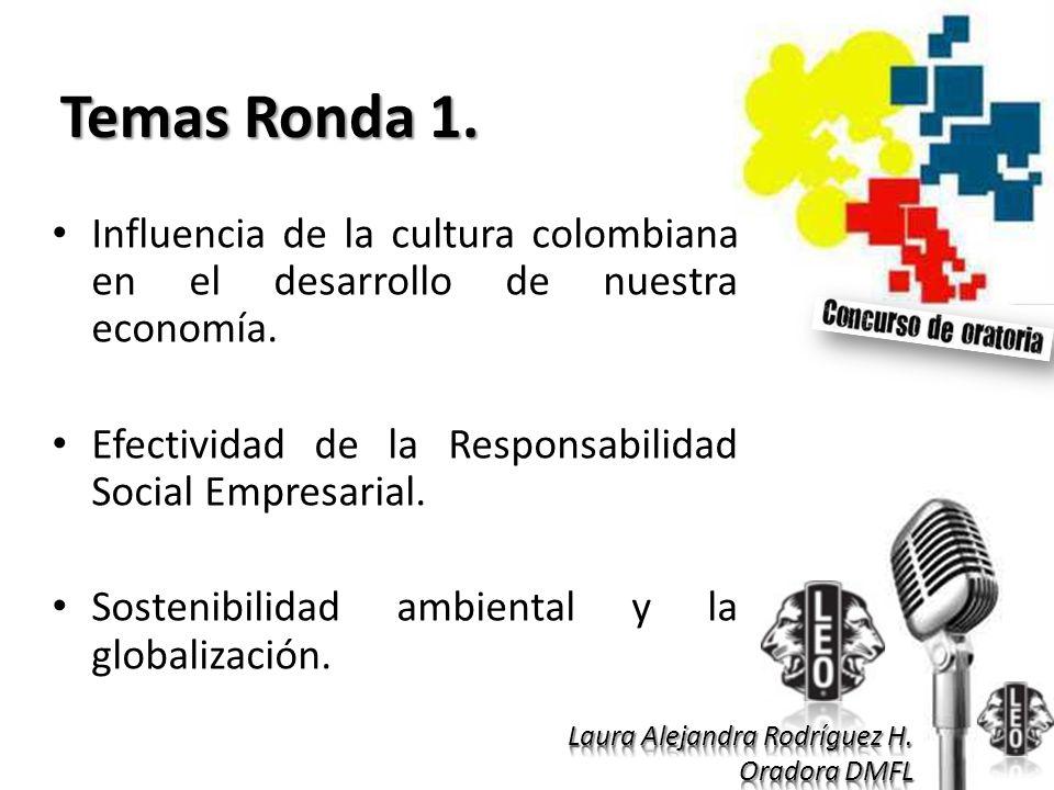 Temas Ronda 1. Influencia de la cultura colombiana en el desarrollo de nuestra economía. Efectividad de la Responsabilidad Social Empresarial.