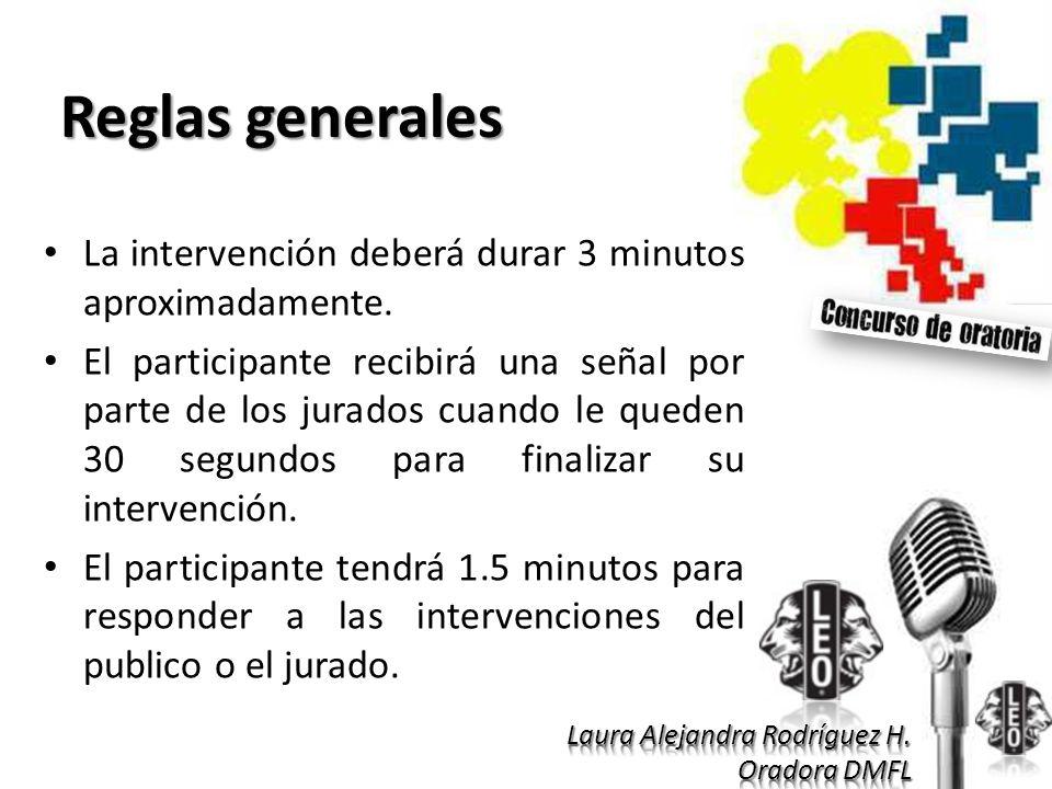 Reglas generales La intervención deberá durar 3 minutos aproximadamente.