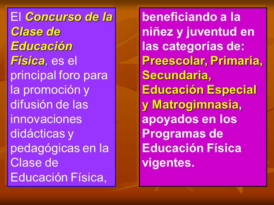 El Concurso de la Clase de Educación Física, es el principal foro para la promoción y difusión de las innovaciones didácticas y pedagógicas en la Clase de Educación Física,