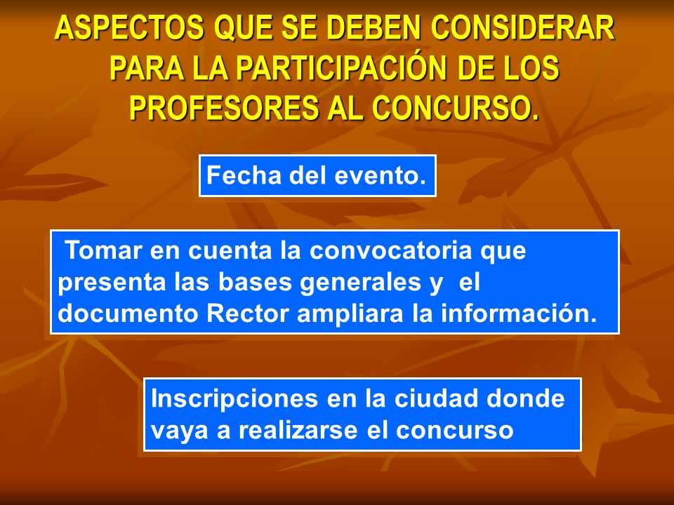 ASPECTOS QUE SE DEBEN CONSIDERAR PARA LA PARTICIPACIÓN DE LOS PROFESORES AL CONCURSO.